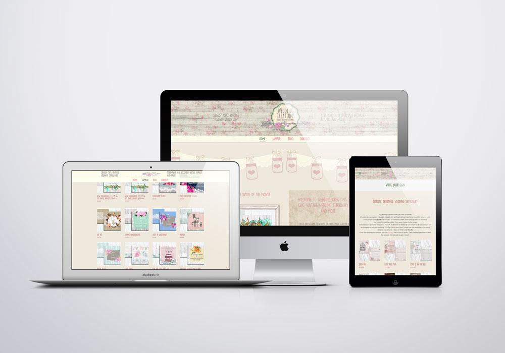 Wedding Creations website mock up